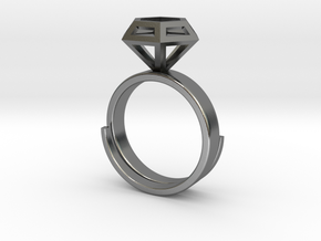 Diamond Ring US 7 3/4 in Polished Silver