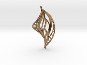 DNA Leaf Spiral Earring (left) in Natural Brass