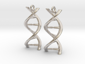 DNA Earrings in Rhodium Plated Brass