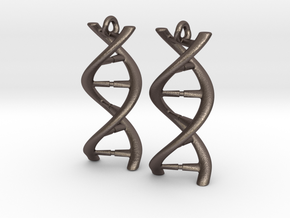 DNA Earrings in Polished Bronzed Silver Steel