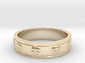 Ring with Skulls - Size 7 in 14K Yellow Gold