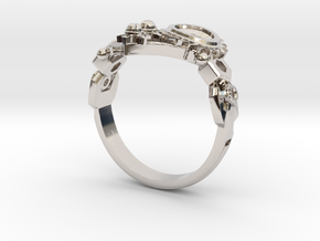 Mech Heart Ring in Rhodium Plated Brass: 6 / 51.5