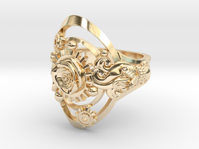 Botanika Mechanicum Ring SIZE 10 in 14k Gold Plated Brass