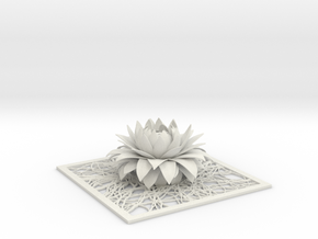 Aster flower decor element STL in White Natural Versatile Plastic