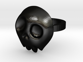 Comic Skull Ring in Matte Black Steel