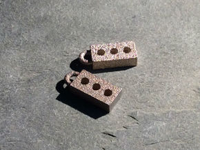 Masonry Brick Earrings in Polished Bronzed Silver Steel