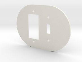 plodes® 2 Gang 1 Toggle Combo Wall Plate in White Strong & Flexible