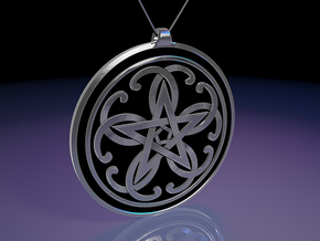 Celtic Pentagram Knot Pendant~44mm (1 3/4 inch) in Polished Silver