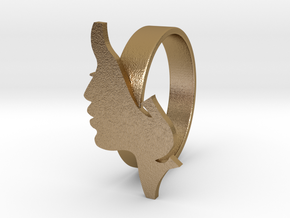 Facial ring -size 7 in Polished Gold Steel