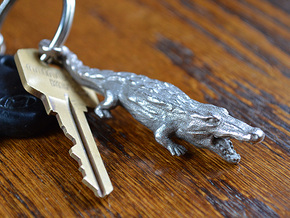 Alligator Keychain / bottle opener in Polished Bronzed Silver Steel
