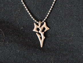 Final Fantasy Zanarkand Abes necklace 2cm symbol  in Polished Bronzed Silver Steel