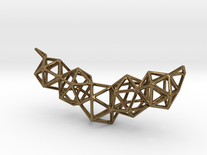 Icosahedron Frame Geometry Pendent in Natural Bronze