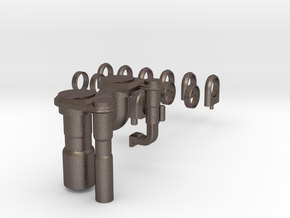 3d Shuttle Fuel Line Fitting in Polished Bronzed Silver Steel