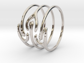 The Ripple Stacked Rings in Rhodium Plated Brass