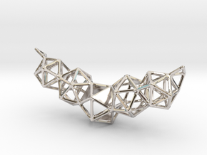 Icosahedron Pendent in Rhodium Plated Brass