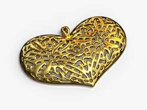 HeartPendantV1 PE33s1 46x31h55 in 14k Gold Plated Brass