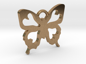 Butterfly Pendant in Natural Brass