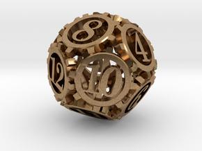 Steampunk Gear d12 in Natural Brass