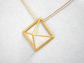 3D Wireframe Pyramid in Polished Gold Steel
