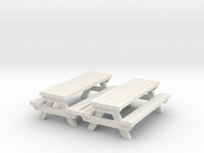 Picnic Table - Qty (2) HO 1:87 scale  in White Natural Versatile Plastic