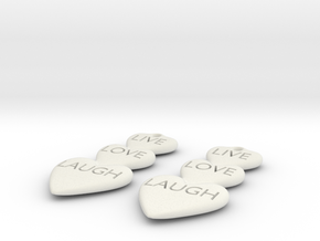Live Love Laugh Hearts Earrings in White Natural Versatile Plastic