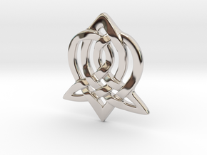 Celtic Sister Pendant in Rhodium Plated Brass