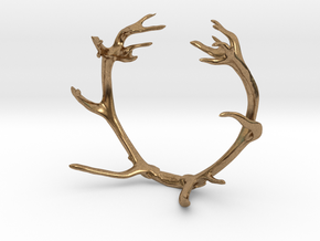 Red Deer Antler Bracelet in Natural Brass