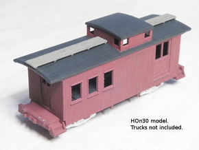 HOn30 25 foot Caboose A in White Natural Versatile Plastic