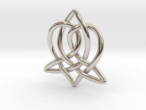 Celtic Sister Pendant - Tube Version in Rhodium Plated Brass