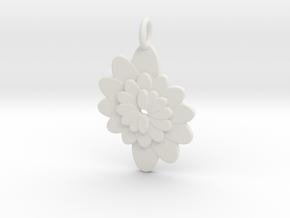Spiral Flower 1 in White Strong & Flexible