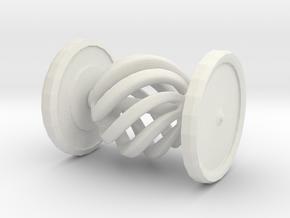 Shapeways Spinning Spiral Hypnosis Car in White Natural Versatile Plastic