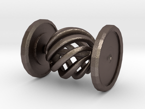 Shapeways Spinning Spiral Hypnosis Car in Polished Bronzed Silver Steel
