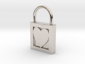 Heart Padlock in Rhodium Plated Brass