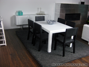 Sei Modern Dining Table 1:12 scale in White Processed Versatile Plastic