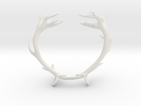 Red Deer Antler Necklace With Loops in White Natural Versatile Plastic