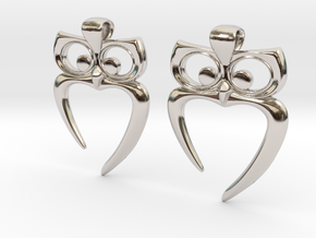 Owl Heart Earrings in Rhodium Plated Brass