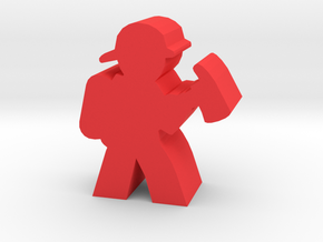 Firefighter Meeple With Axe in Red Processed Versatile Plastic