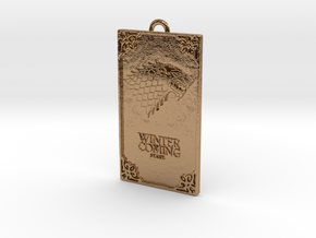 Game of Thrones - Stark Pendant in Polished Brass