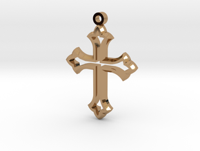 Faceted Cross in Polished Brass