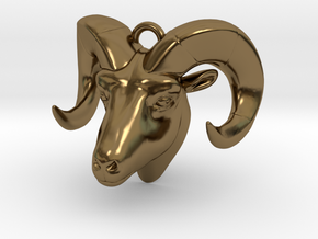 Ram head pendant in Polished Bronze