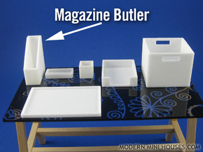 Office: Magazine Butler 1:12 scale miniature in White Processed Versatile Plastic