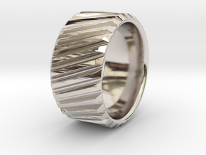 Gear Cog Fashion Ring Size 10 in Rhodium Plated Brass