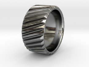 Gear Cog Fashion Ring Size 10 in Fine Detail Polished Silver