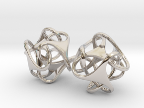 Tetron earrings in Rhodium Plated Brass