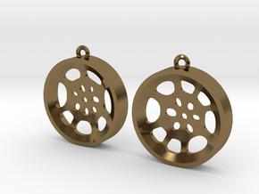 """Double Tenor """"void"""" steelpan earrings, M in Polished Bronze"""