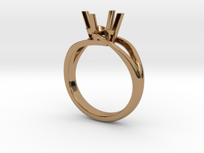 Solitaire Engagement Ring w/Split Band in Polished Brass