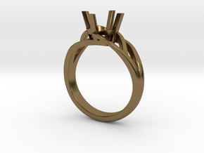 Solitaire Engagement Ring w/Branched Band in Polished Bronze