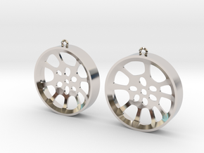 "Double Seconds ""void"" steelpan earrings, L in Rhodium Plated Brass"