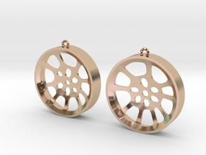 "Double Seconds ""void"" steelpan earrings, L in 14k Rose Gold Plated Brass"