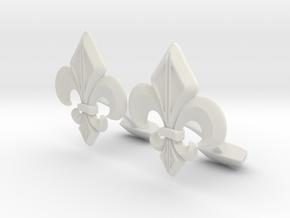 Designer Cufflink in White Natural Versatile Plastic